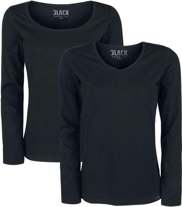 Svarta långärmade tröjor med V-ringning och rund hals