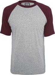 Gråmelerad T-shirt med vinröda ärmar
