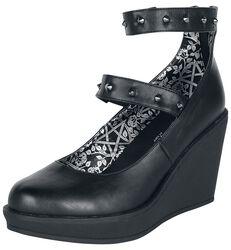 Svarta högklackade skor med kilklack och band