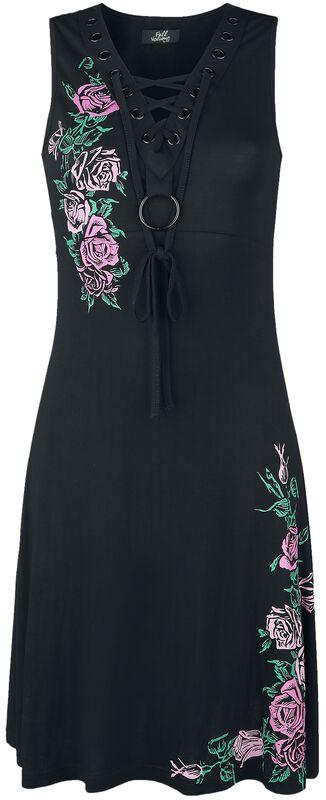 Klänning med blomstertryck och snörning