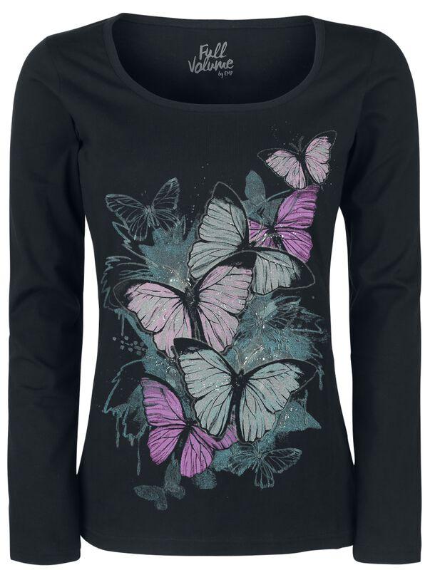 Långärmad tröja med fjärilstryck