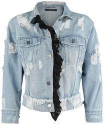 Jeansjacka med slitageeffekter