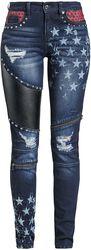 Skarlett - Mörkblå jeans med tryck och detaljer