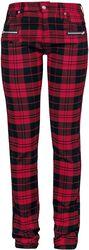 Skarlett - röd/svart-rutiga byxor