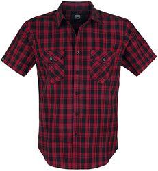 Svart/röd-rutig kortämad skjorta med bröstfickor