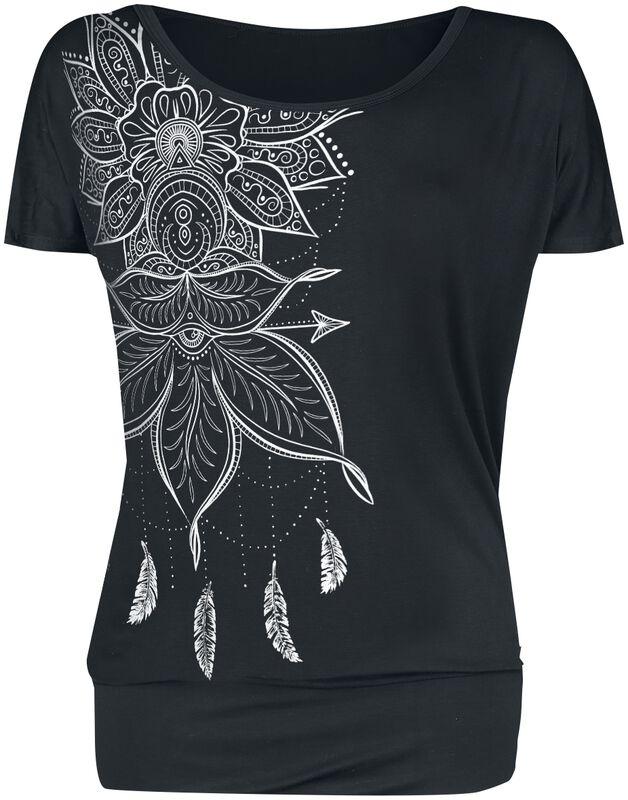 Svart T-shirt med tryck och rund halsringning