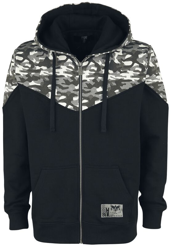Hooded zip with camo print