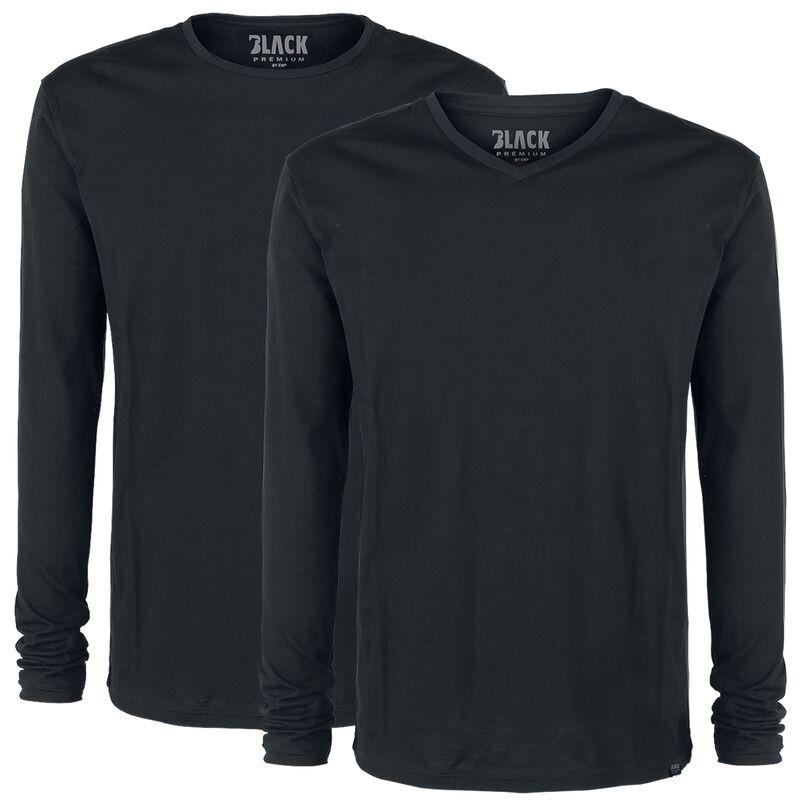Dubbelpack svarta långärmade tröjor med rund hals och V-ringning