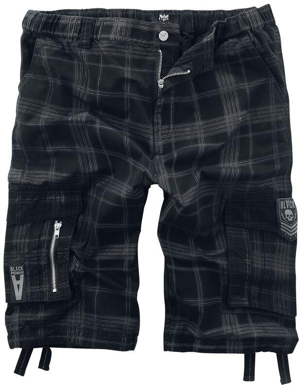 Svarta rutmönstrade shorts