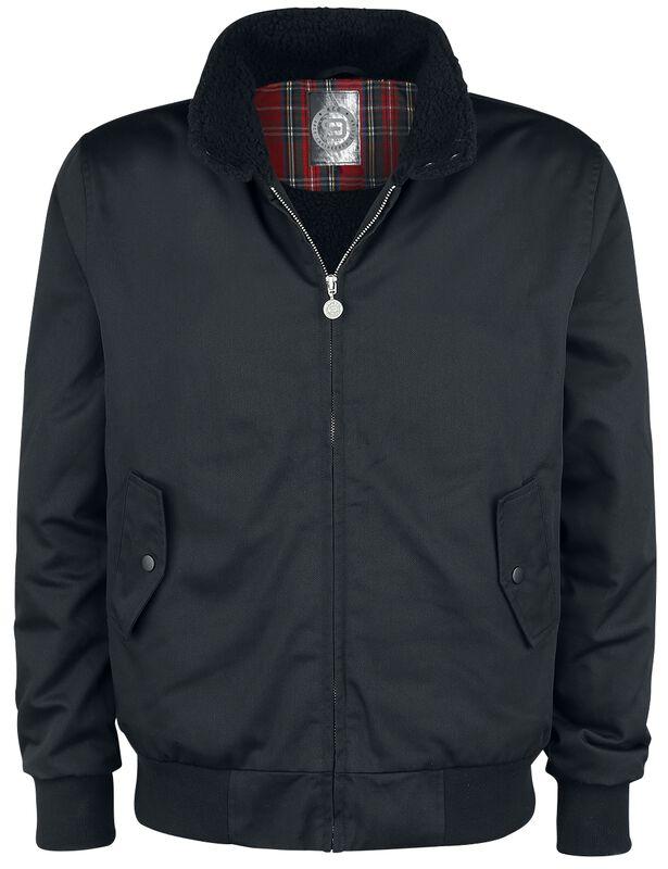 Black Between-Seasons Jacket with Standing Collar