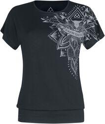 Sport och Yoga - Ledig svart T-shirt med detaljerat tryck