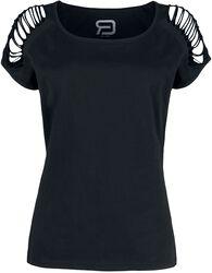 Svart T-shirt med ärm-cutouts
