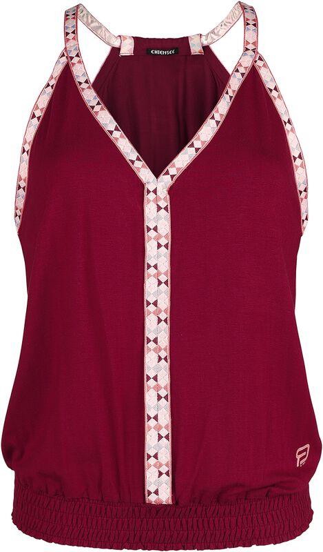 RED X CHIEMSEE - Rött linne med flerfärgade sömmar