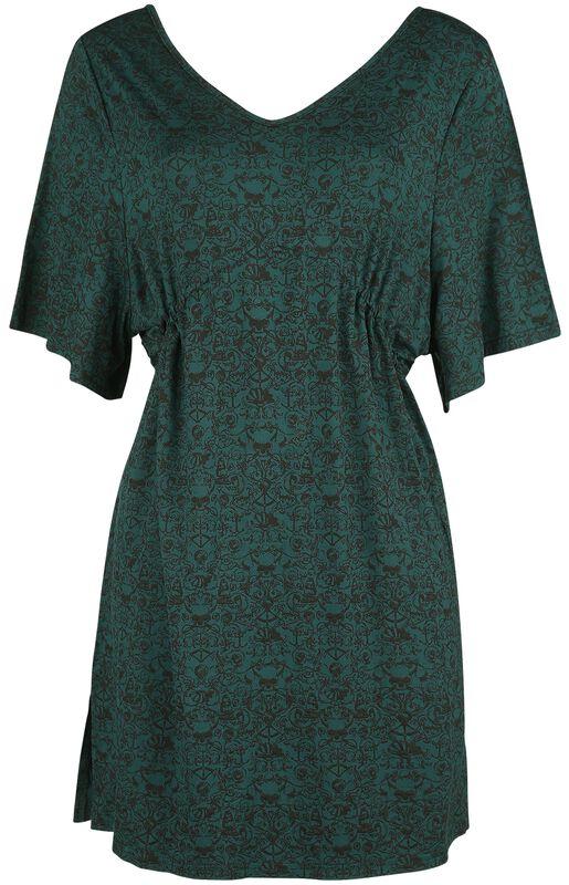 Mörkgrön klänning med tryck, vida ärmar och rynkning i midja