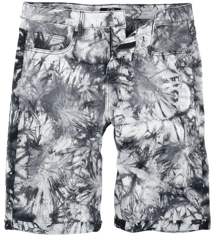 Vita/svarta tvättade shorts