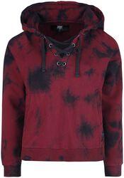 Röd/svart luvtröja i batikstil med snörning